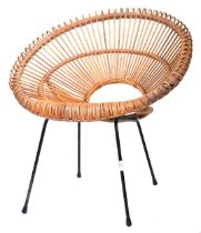 FRANCO ALBINI MID 20TH CENTURY CANE & BAMBOO SATELLITE HOOP CHAIR
