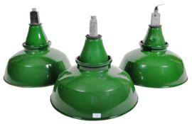 SET OF THREE RETRO 1960'S INDUSTRIAL GREEN ENAMEL SHADES