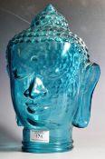 20TH CENTURY ART DECO STYLE PRESSED GLASS BUDDHA DISPLAY HEAD