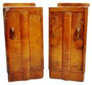 PAIR OF 1930S ART DECO WALNUT BEDSIDE TABLE CUPBOARDS