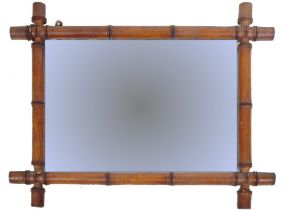 19TH CENTURY FRENCH FAUX BAMBOO FRAMED HANGING MIRROR
