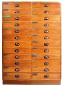 EARLY 20TH CENTURY GOLDEN OAK DUAL BANK OF DRAWERS