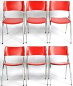 CALIGARIS - SET OF SIX WAY RED LEATER DINING CHAIRS