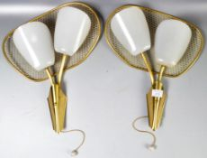 MANNER OF MATEGOT - PAIR OF TWIN SCONCE FRENCH PERFORATED WALL LAMPS