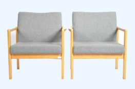 MATCHING PAIR OF BEEECH FRAMED EASY LOUNGE CHAIRS