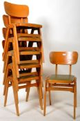 BEN CHAIRS - SET OF SIX BEECH AND PLY STACKING DINING CHAIRS
