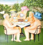 BERYL COOK - TEA IN THE GARDEN - SIGNED PRINT