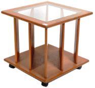 RETRO VINTAGE 1970'S TEAK WOOD GLASS COFFEE TABLE