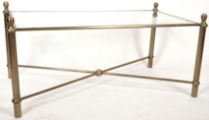 1980'S BRASS EFFECT AND GLASS TOPPED COFFEE TABLE