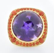 DANISH 18CT GOLD AMETHYST & CORAL COCKTAIL RING