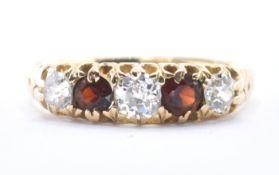 18CT GOLD DIAMOND & GARNET FIVE STONE RING