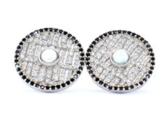 PAIR OF SILVER OPALITE AND CZ STUD EARRINGS.