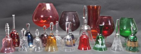 COLLECTION OF 20TH CENTURY STUDIO ART GLASS BELLS AND VASES.