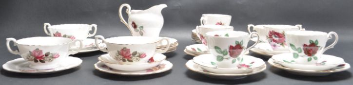VINTAGE 20TH CENTURY ROYAL STANDARD RED VELVET PATTERN CUP AND SAUCERS