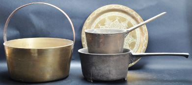 18TH CENTURY GEORGE III BRASS SKILLET AND MORE
