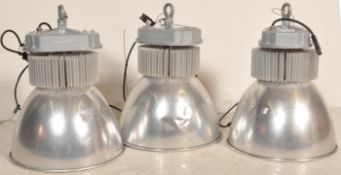 SET OF THREE CONTEMPORARY INDUSTRIAL FACTORY LED LIGHTS