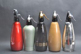COLLECTION OF FIVE 1970'S SIPHON BOTTLES
