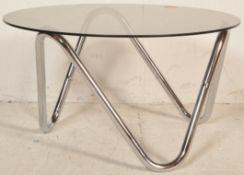 20TH CENTURY CIRCA 1970S SMOKED GLASS AND CHROME FRAME COFFEE TABLE