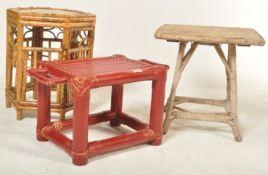 THREE CHINESE ORIENTAL BAMBOO STOOLS