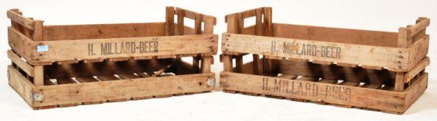 TWO MID 20TH CENTURY MILLARD BEER ADVERTISING WOODEN CRATES