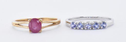 9CT WHITE GOLD TANZANITE RING & 9CT GOLD RUBY RING
