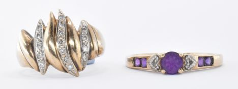 TWO 9CT GOLD & DIAMOND RINGS