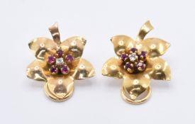 9CT GOLD DIAMOND & RUBY CLIP ON EARRINGS
