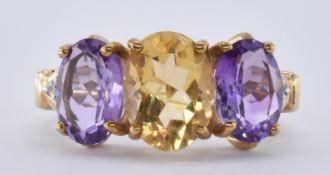 9CT GOLD CITRINE AMETHYST & DIAMOND RING