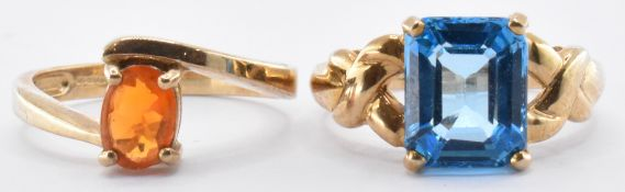 TWO 9CT GOLD RINGS SET WITH TOPAZ & FIRE OPAL