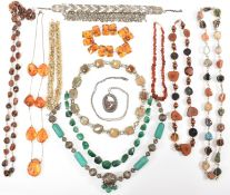 ASSORTMENT OF COLOURED STONE & TRIBAL NECKLACES
