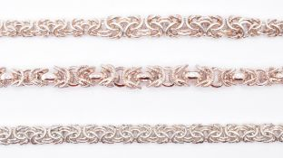THREE SILVER BYZANTINE LINK NECKLACE CHAINS