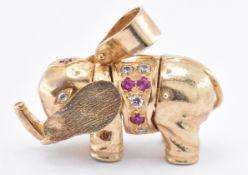 9CT GOLD & RUBY ELEPHANT PENDANT