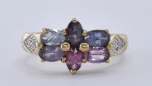 9CT GOLD SPINEL & DIAMOND CLUSTER RING