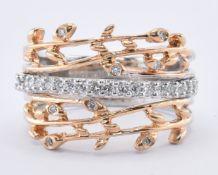 18CT GOLD & DIAMOND FOLIATE RING