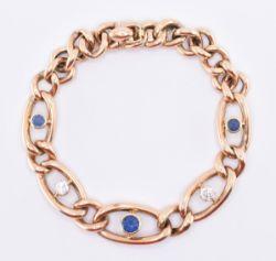 15CT GOLD DIAMOND & SAPPHIRE CURB LINK BRACELET