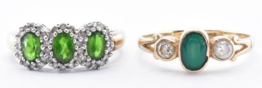 TWO 9CT GOLD & GREEN STONE RINGS