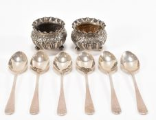 SET OF SIX SILVER TEASPOONS & A PAIR OF SILVER TABLE SALTS