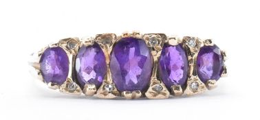 9CT GOLD AMETHYST FIVE STONE RING
