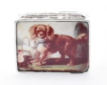 SILVER AND ENAMEL DOG PILL POT