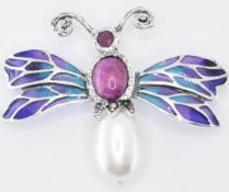 SILVER PLIQUE A JOUR RUBY & PEARL INSECT BROOCH