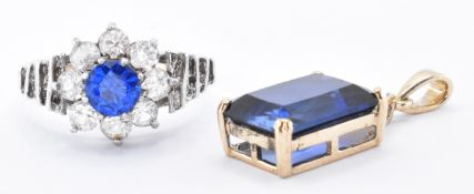 9CT GOLD & SILVER RING WITH 9CT BLUE STONE PENDANT