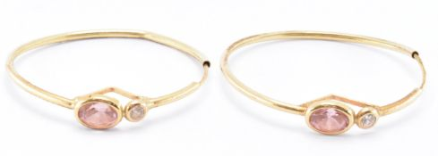 PAIR OF 18CT GOLD WHITE AND PINK STONE HOOP EARRINGS