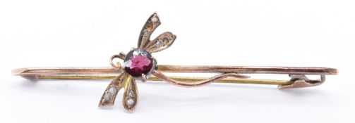 EDWARDIAN 9CT GOLD & RED STONE BUG BROOCH