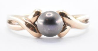 9CT GOLD & PEARL CROSSOVER RING