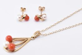 9CT GOLD CORAL & PEARL JEWELLERY SUITE