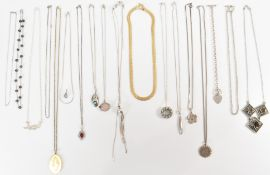 ASSORTMENT OF SILVER PENDANT NECKLACES
