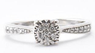 9CT WHITE GOLD & DIAMOND CLUSTER RING