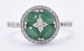 HALLMARKED 18CT WHITE GOLD EMERALD & DIAMOND RING