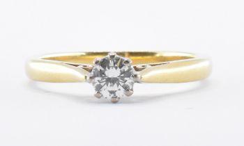 HALLMARKED 18CT GOLD & DIAMOND SOLITAIRE RING