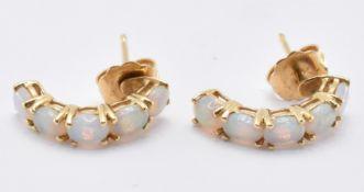 18CT GOLD & OPAL HOOP EARRINGS